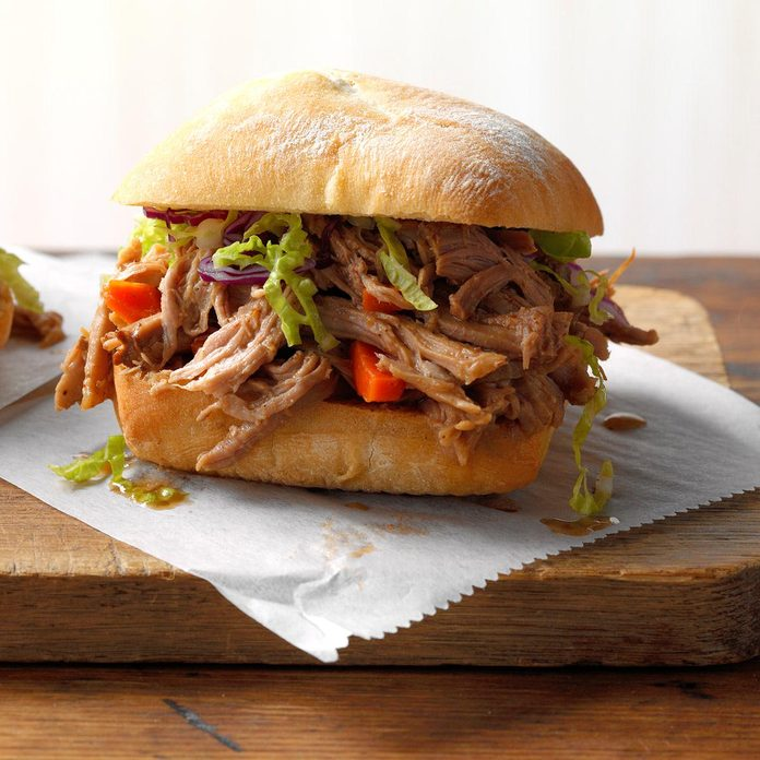 Asian shredded pork sandwiches recipe