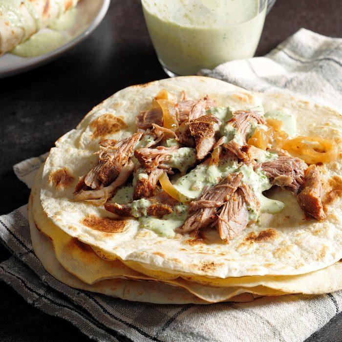 Shredded pork burritos