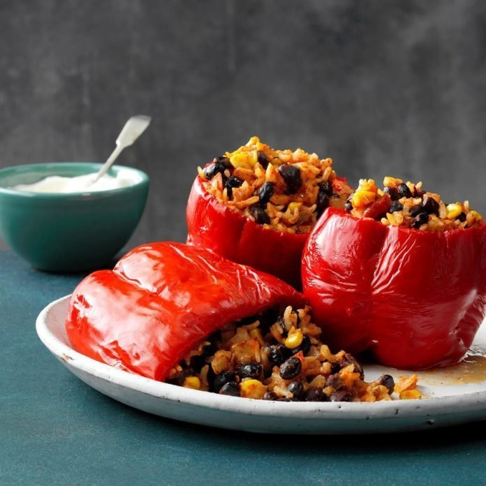 Slow cooked stuffed peppers recipe