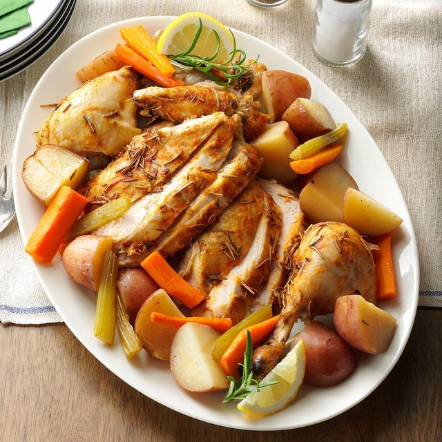 Slow roasted chicken with vegetables recipe