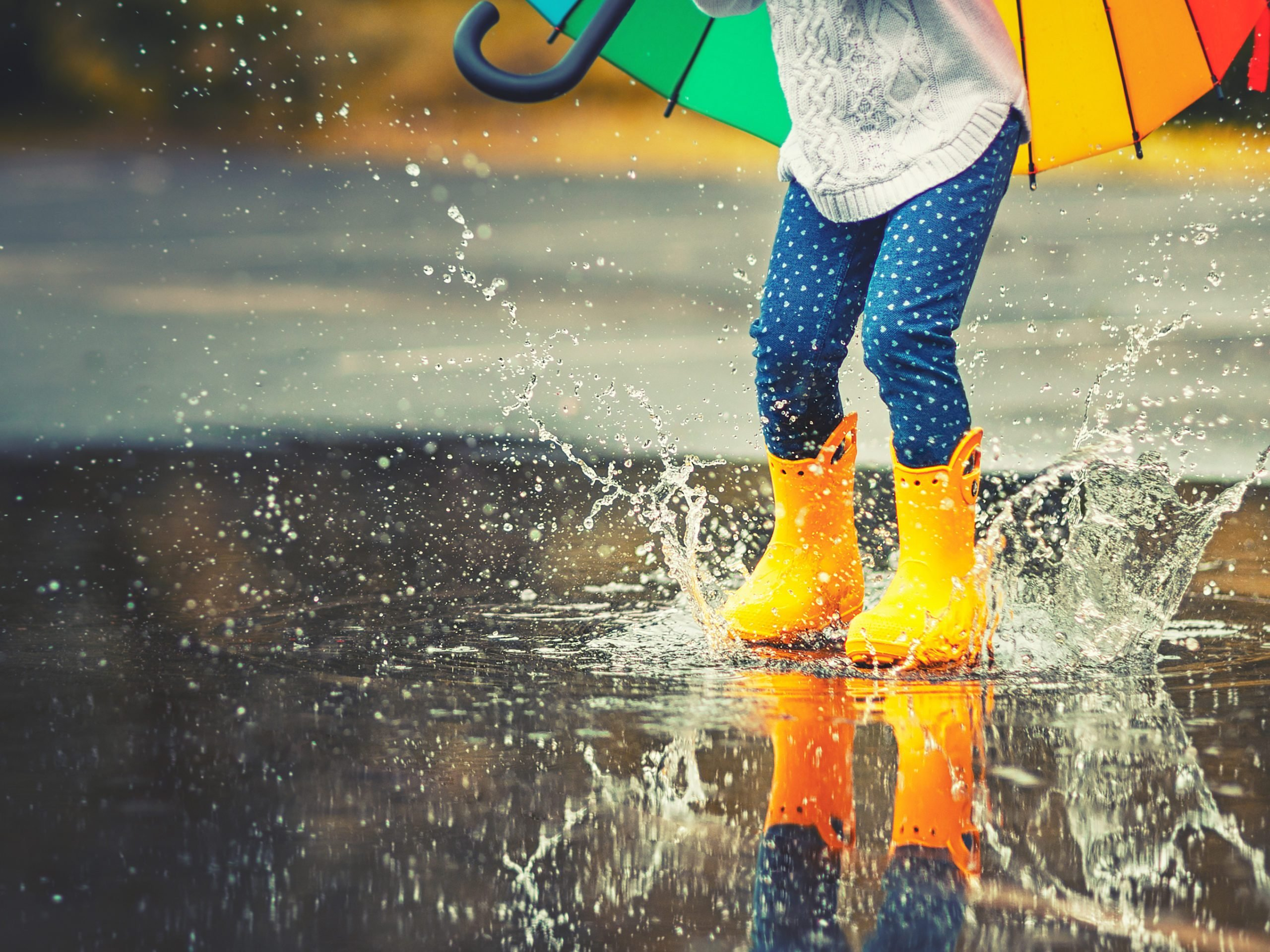 Fall 2020 Canada forecast - child splashing in puddle with umbrella