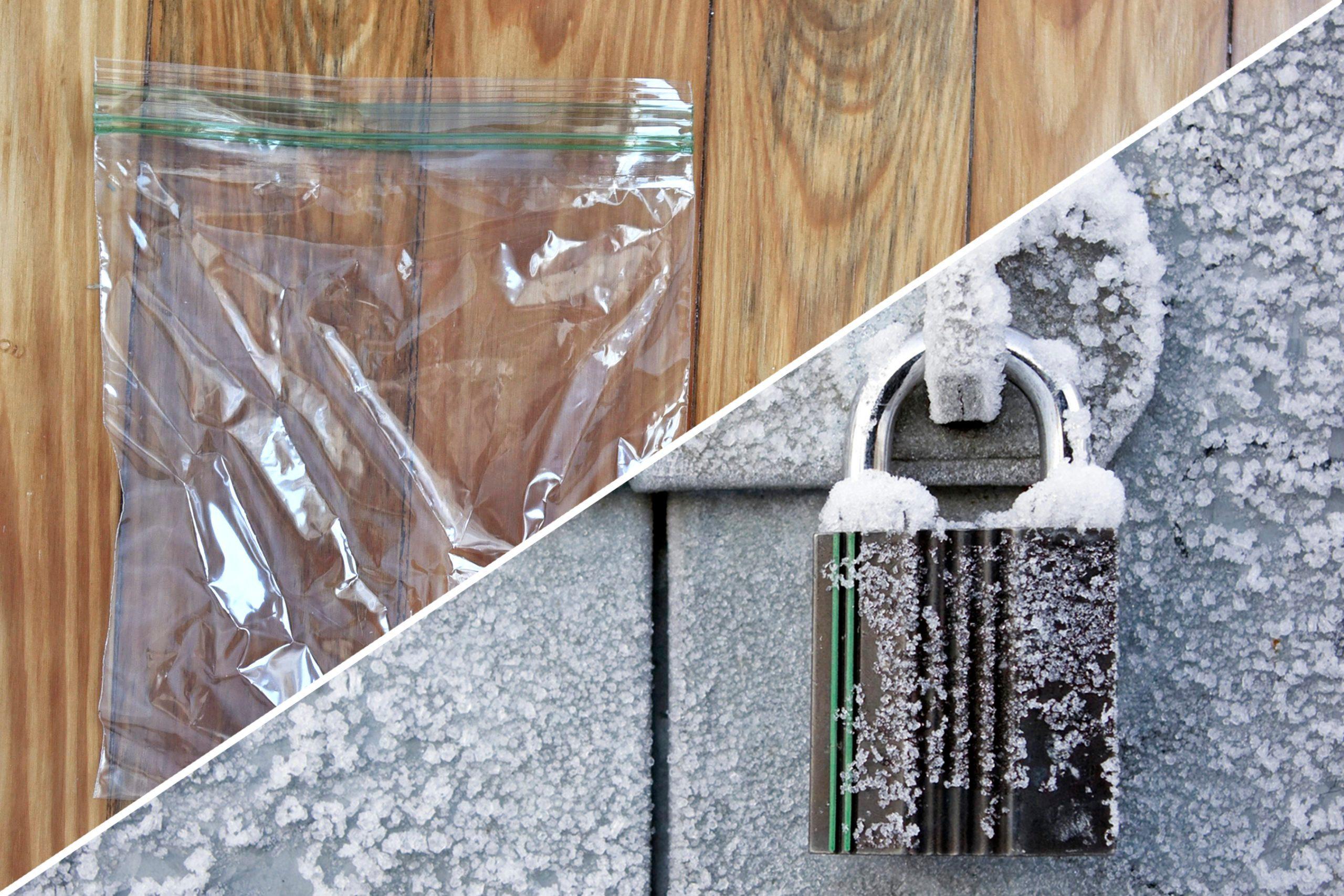 reusable plastic bag frozen padlock