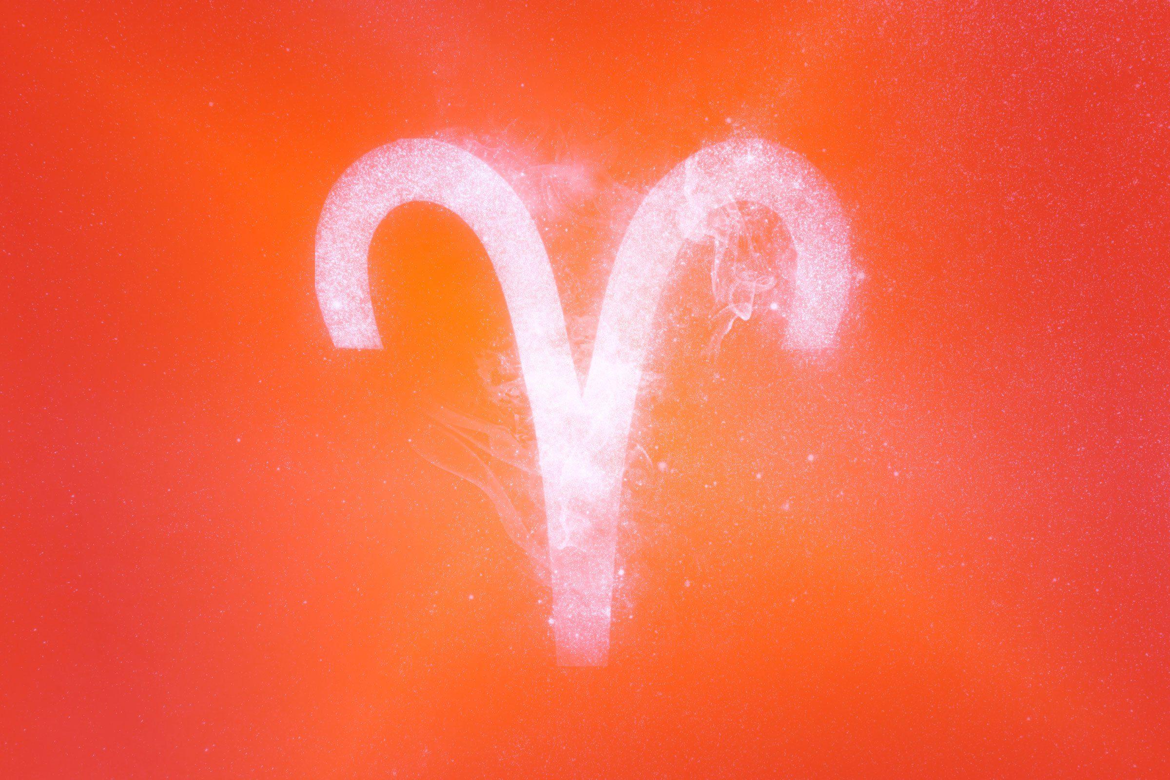 aries symbol with red-orange gradient overlay