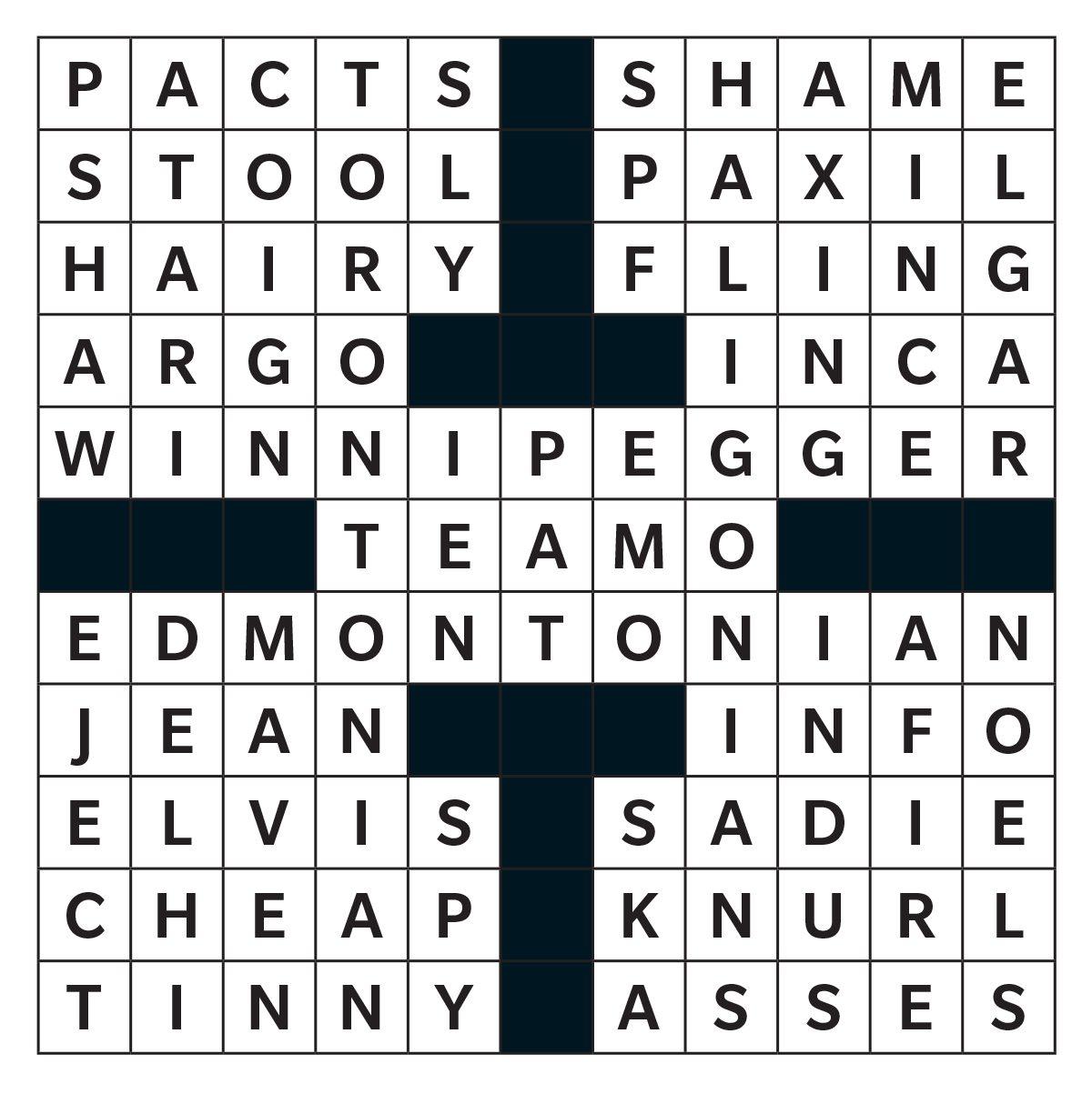 Printable Crossword Answer - April 2019