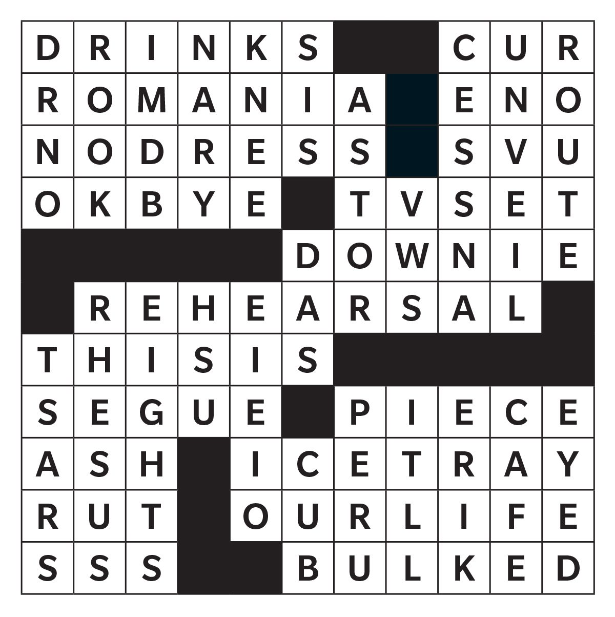 Printable crossword answer - October 2019