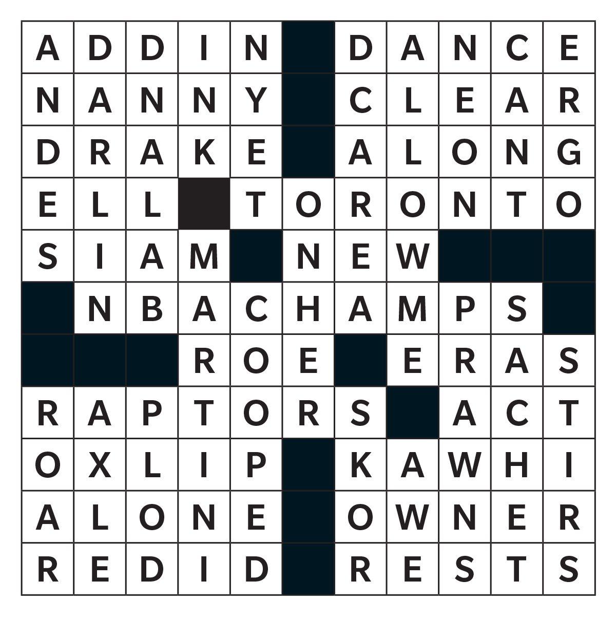 Printable crossword answer - April 2020