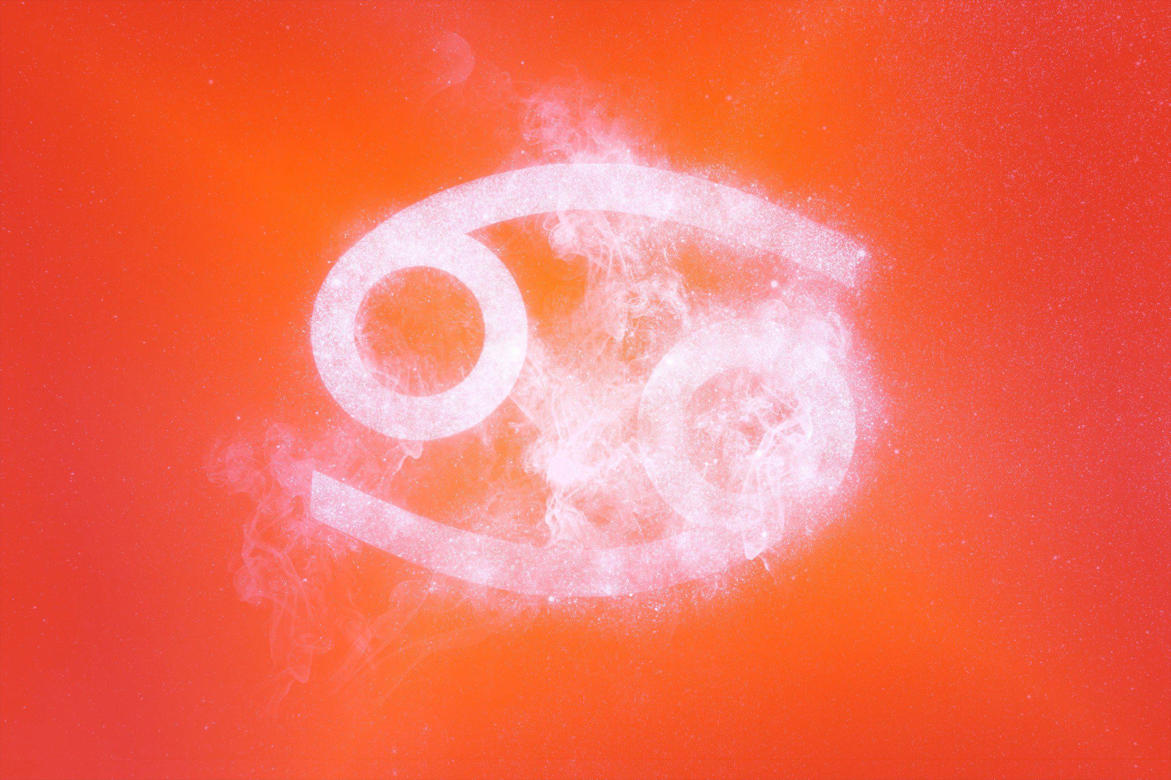 cancer symbol with red-orange gradient overlay