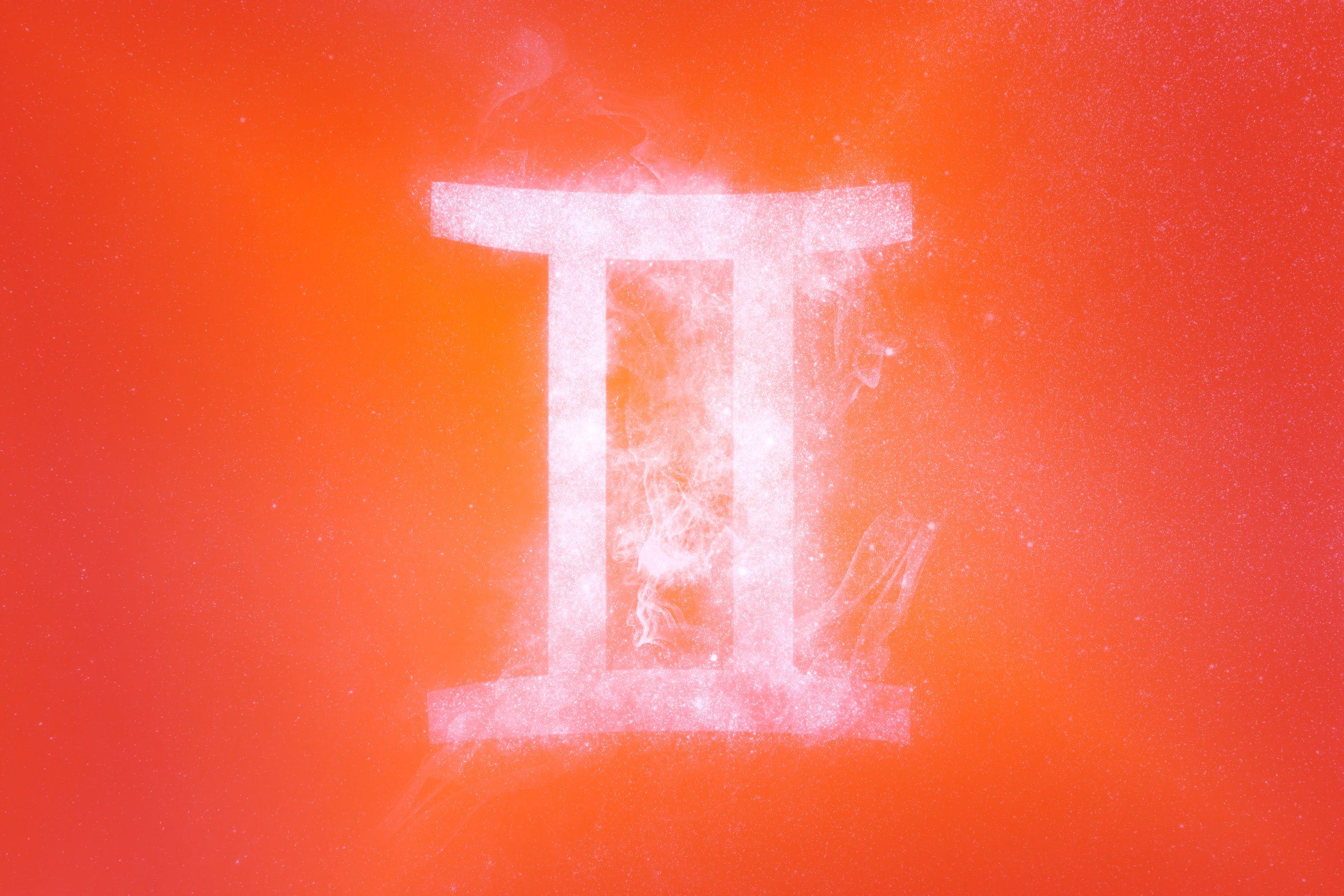 gemini symbol with red-orange gradient overlay
