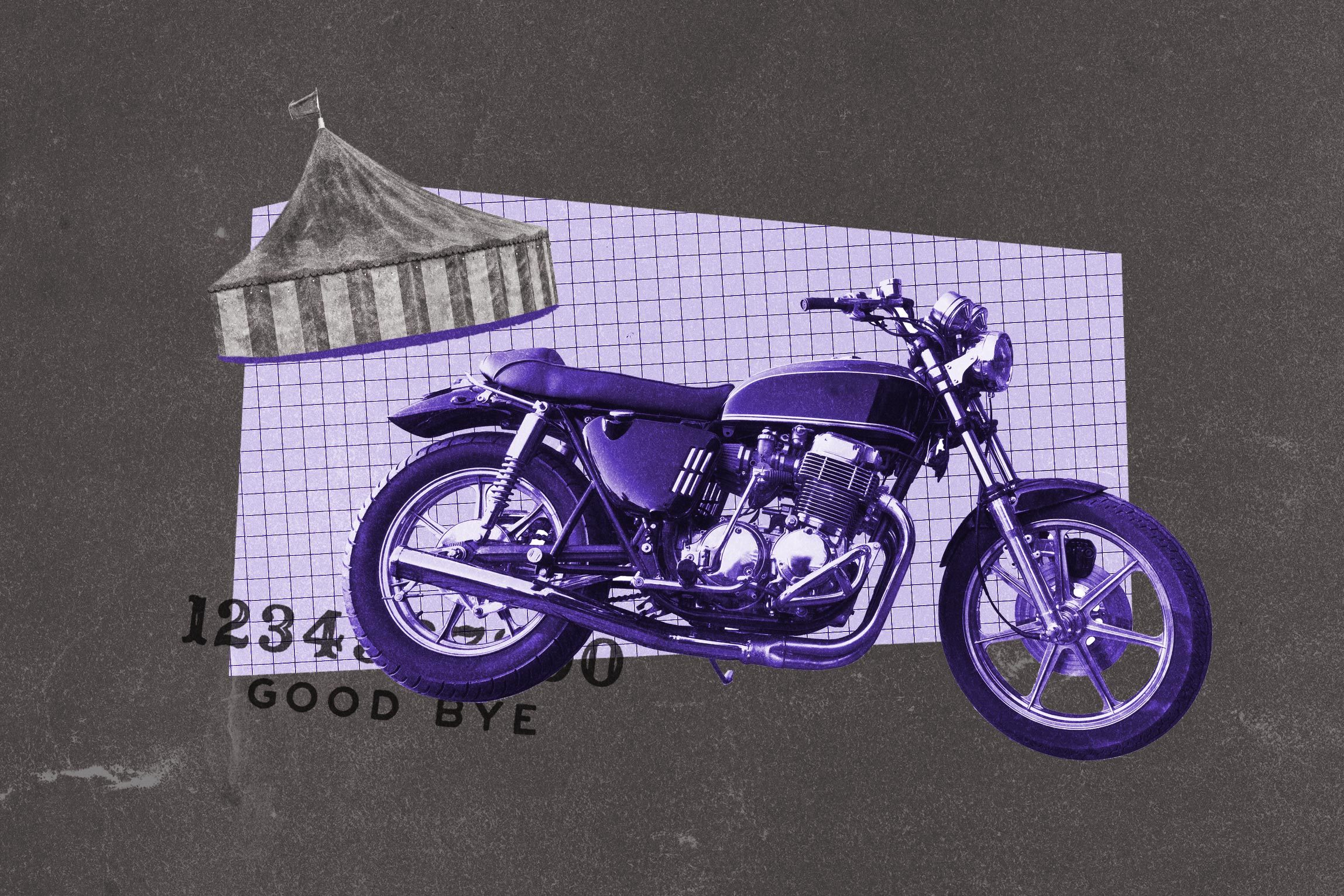 Collage of carnival tent and motorcycle