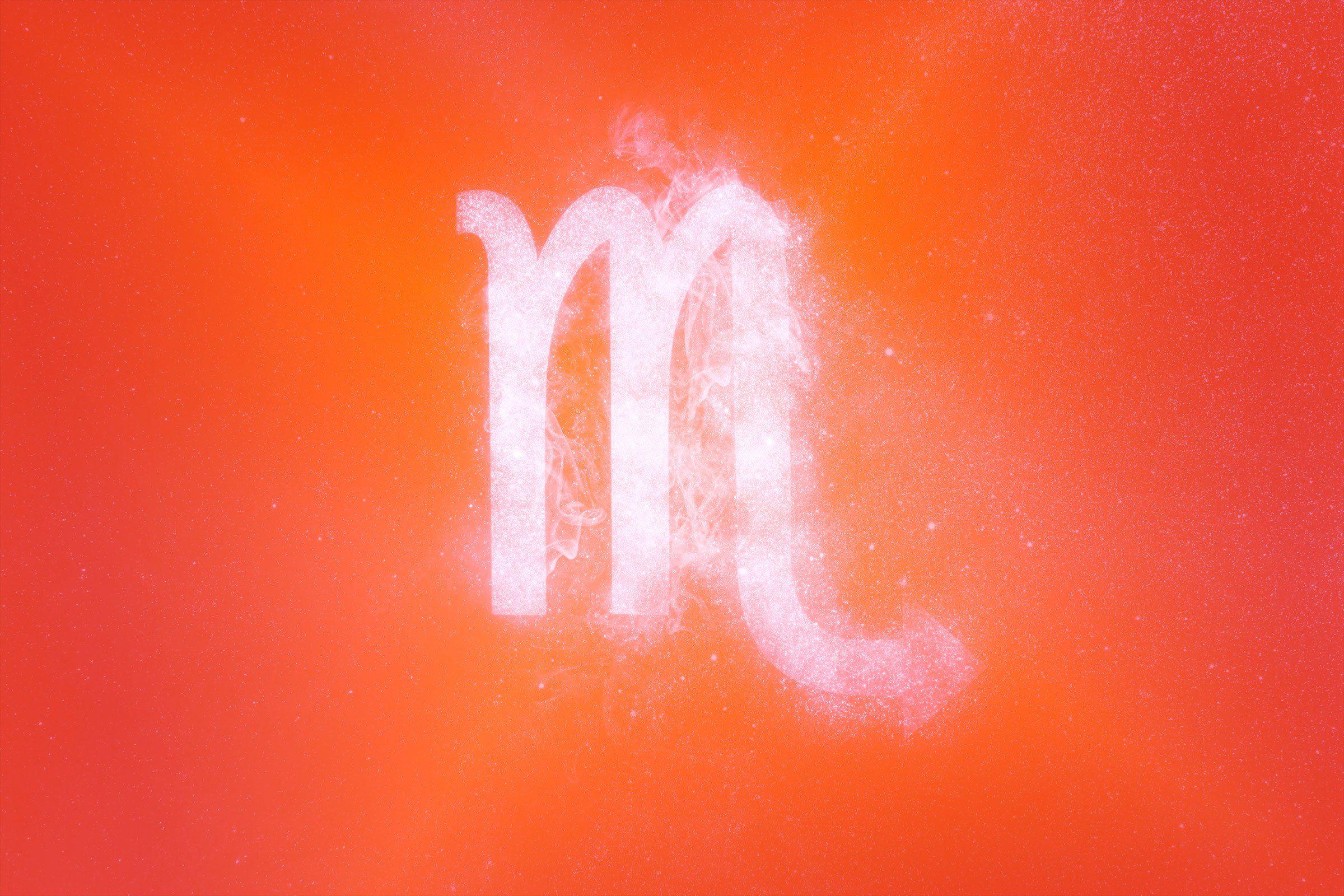 scorpio symbol with red-orange gradient overlay