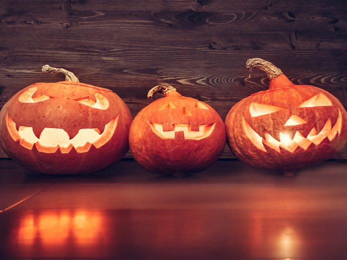 This is what people used to carve for Halloween before pumpkins - row of jack-o-lanterns