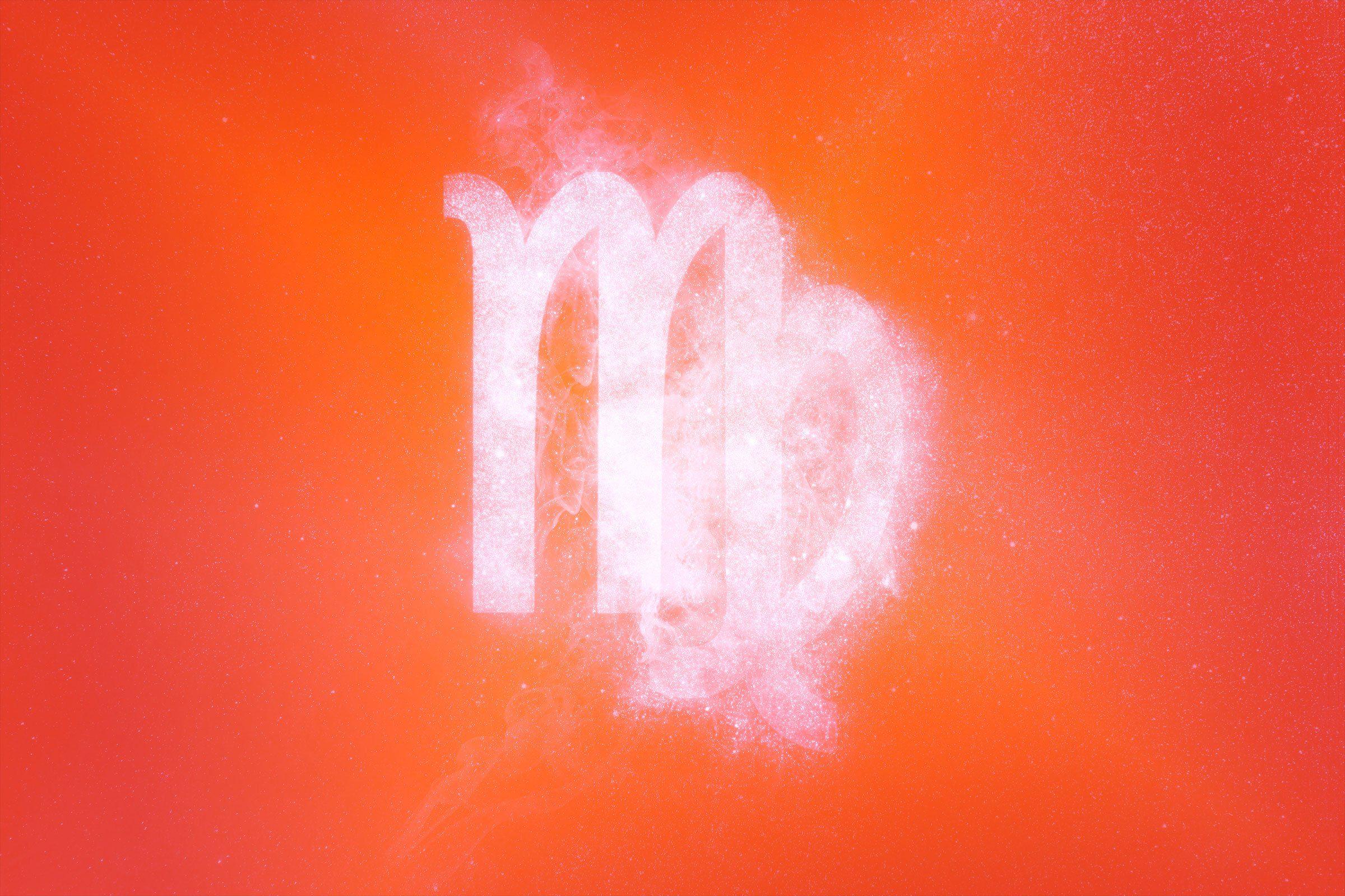 virgo symbol with red-orange gradient overlay