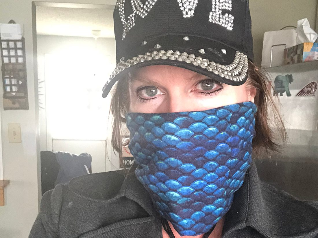 Face mask selfies from across Canada - blue scale mask