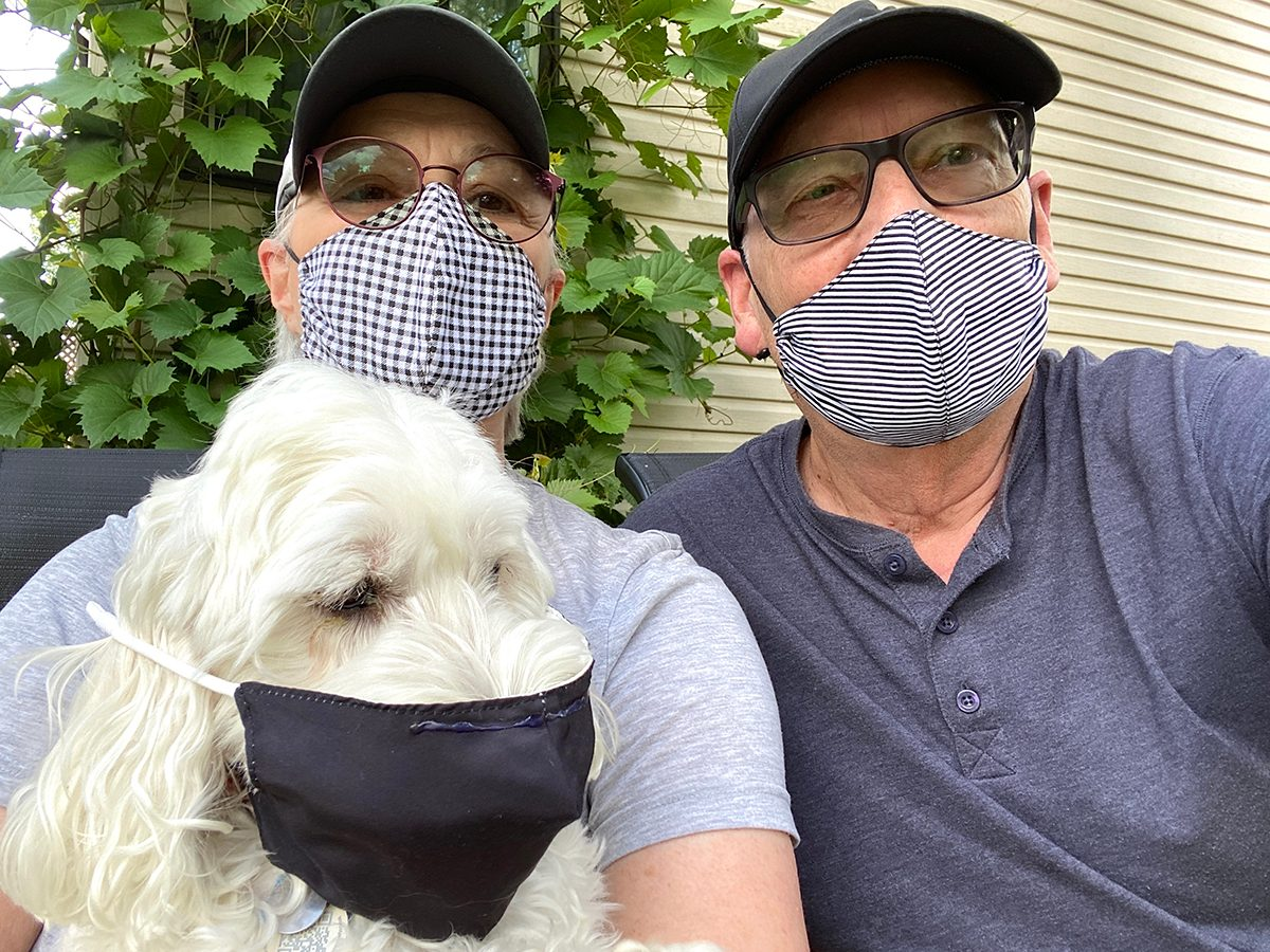 Face mask selfies from across Canada - dog in mask