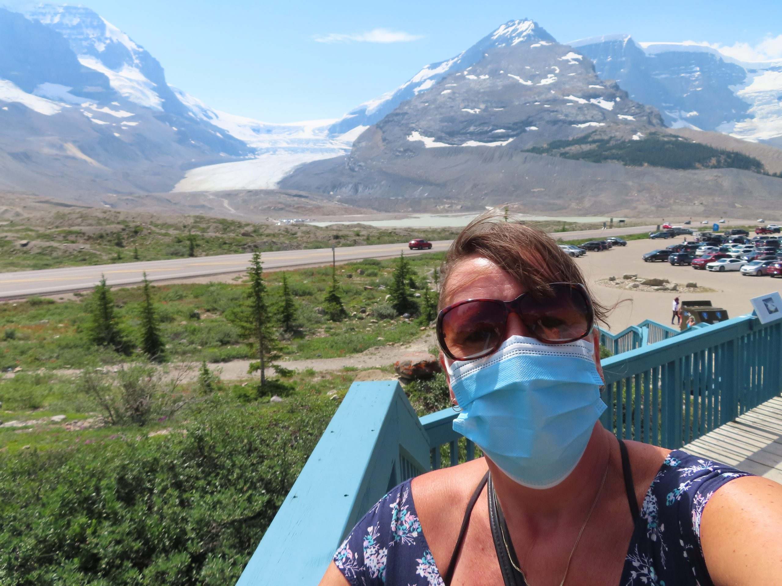 Face mask selfies from across Canada - woman in mask near mountains