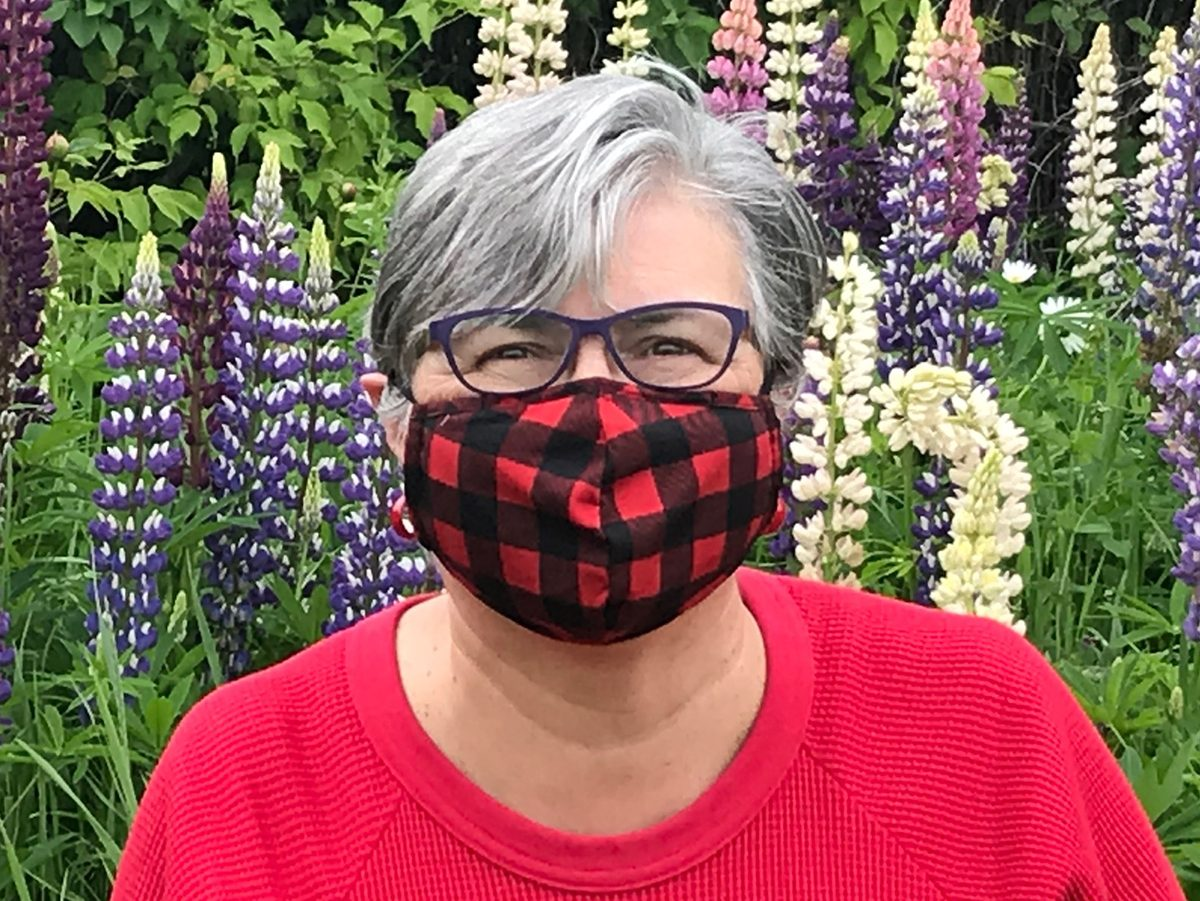 Face mask selfies from across Canada - buffalo plaid mask
