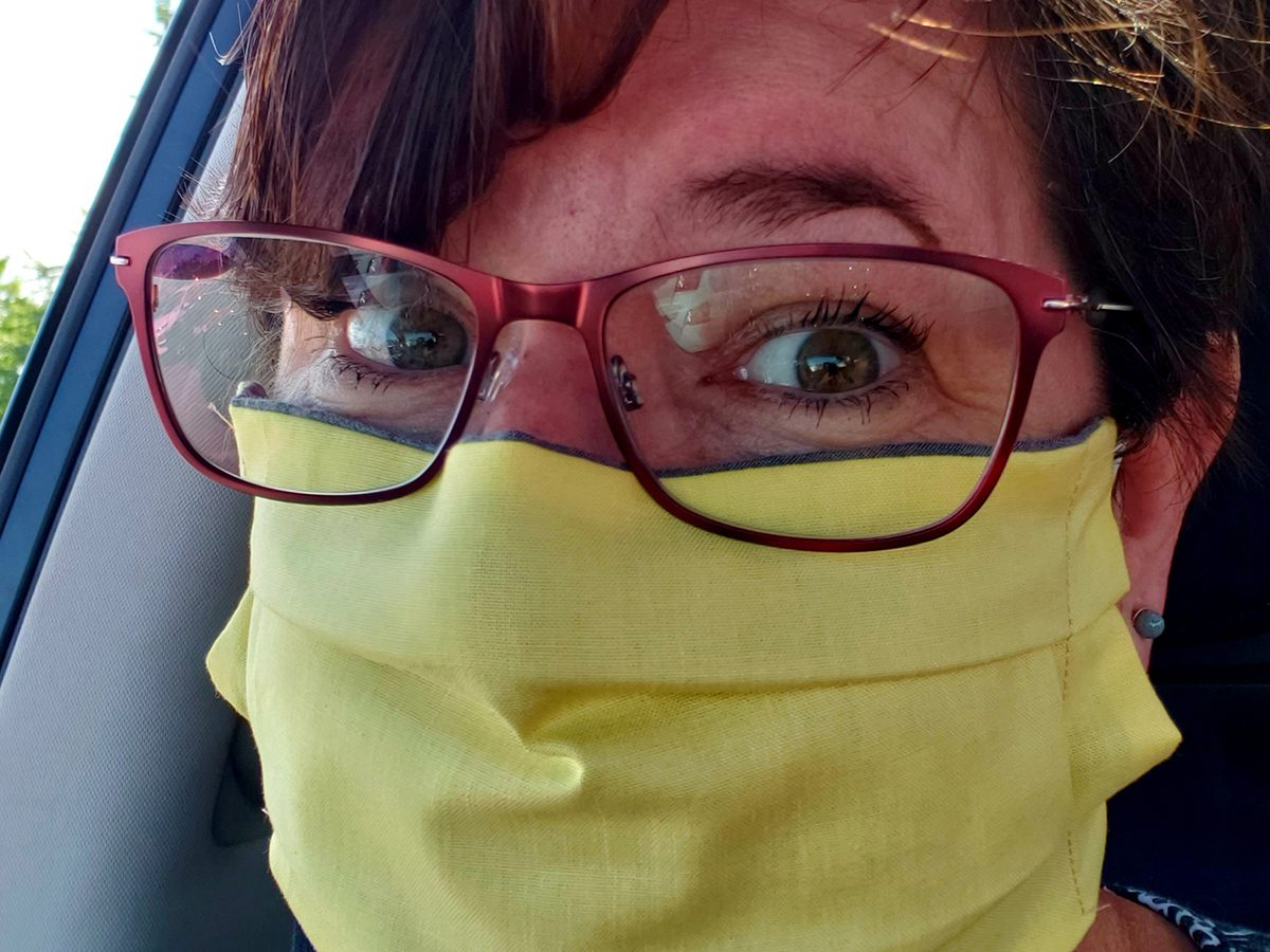 Face mask selfies from across Canada - yellow mask