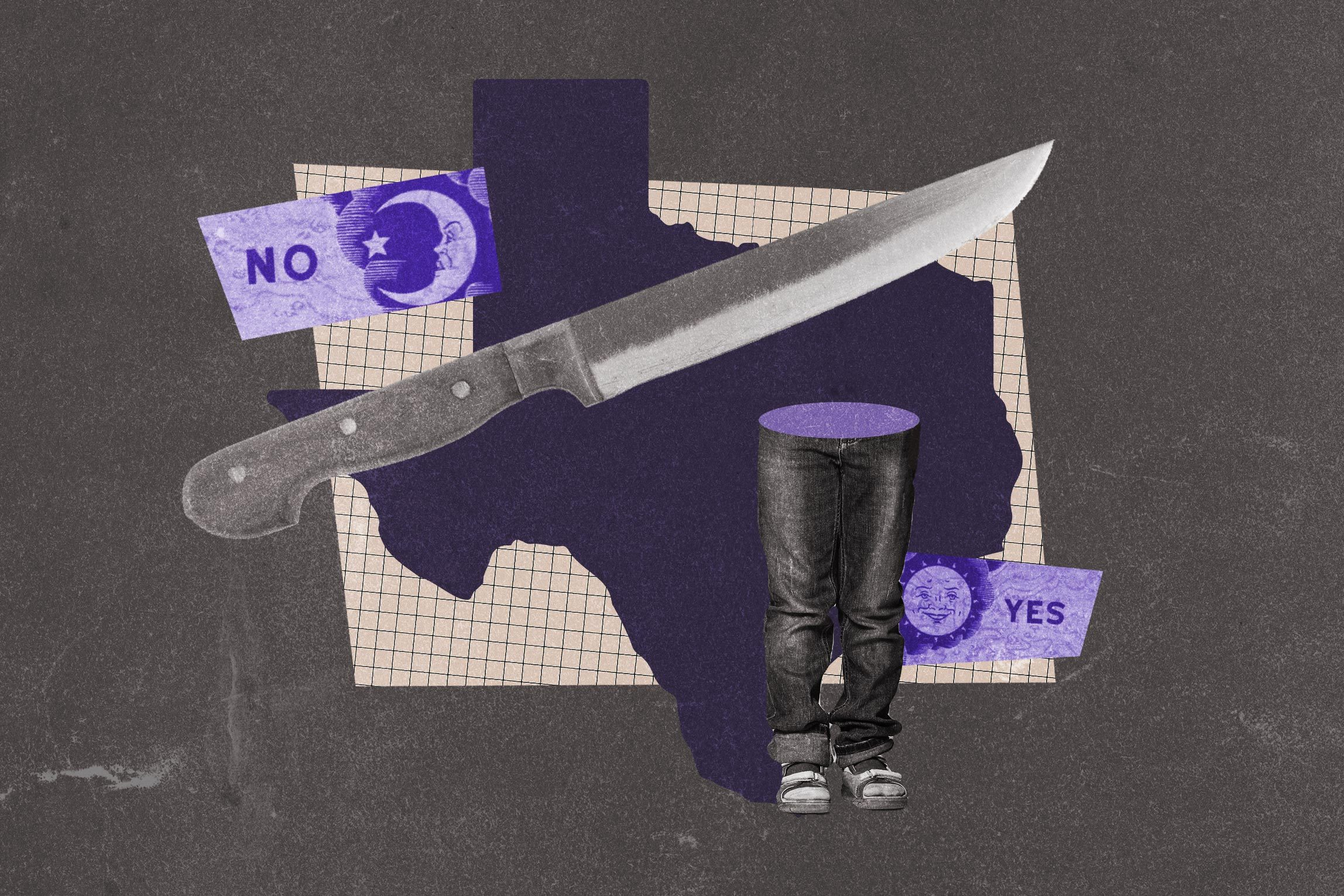 Collage of the state of Texas, knife, boy