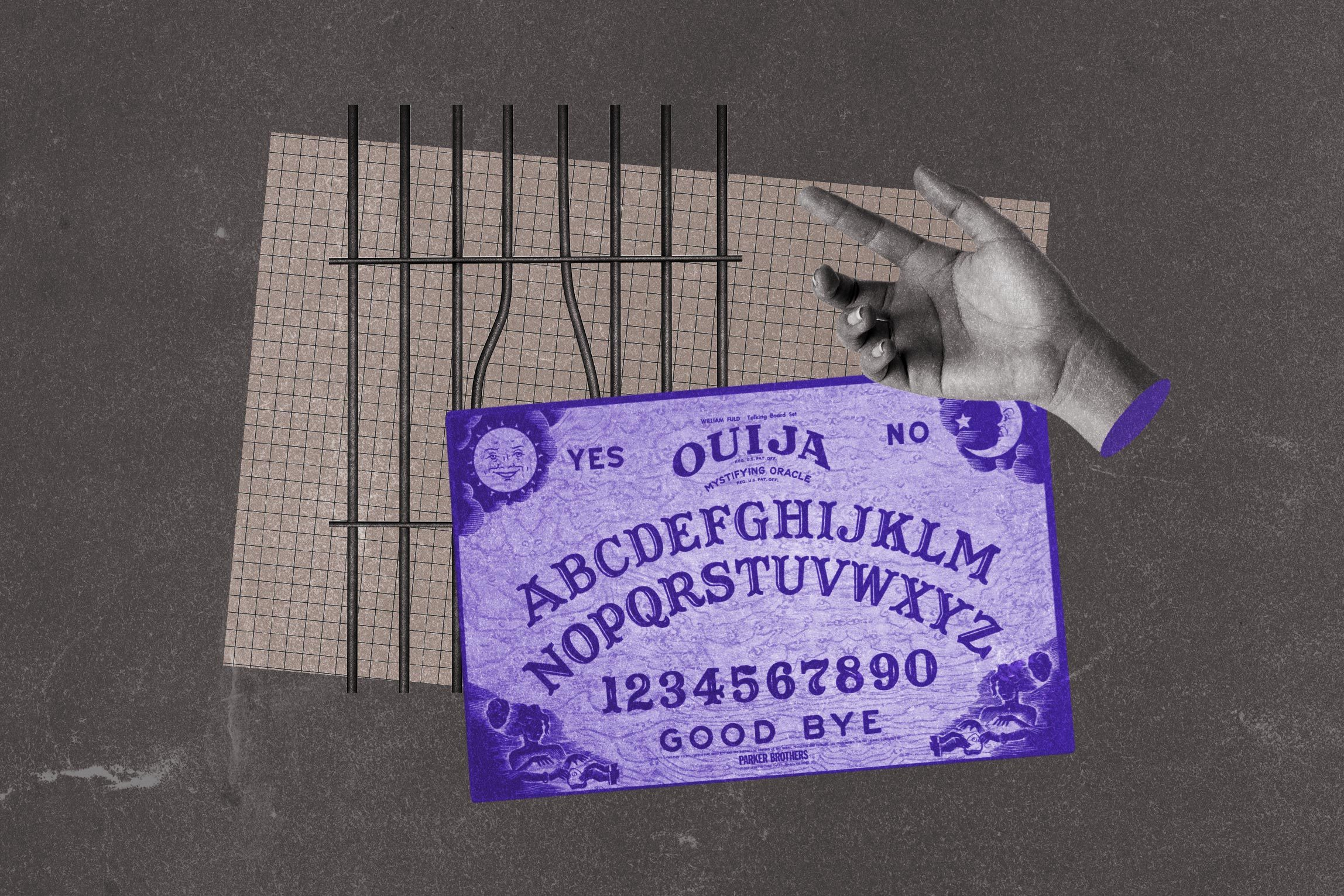 Collage of prison bars and ouija board