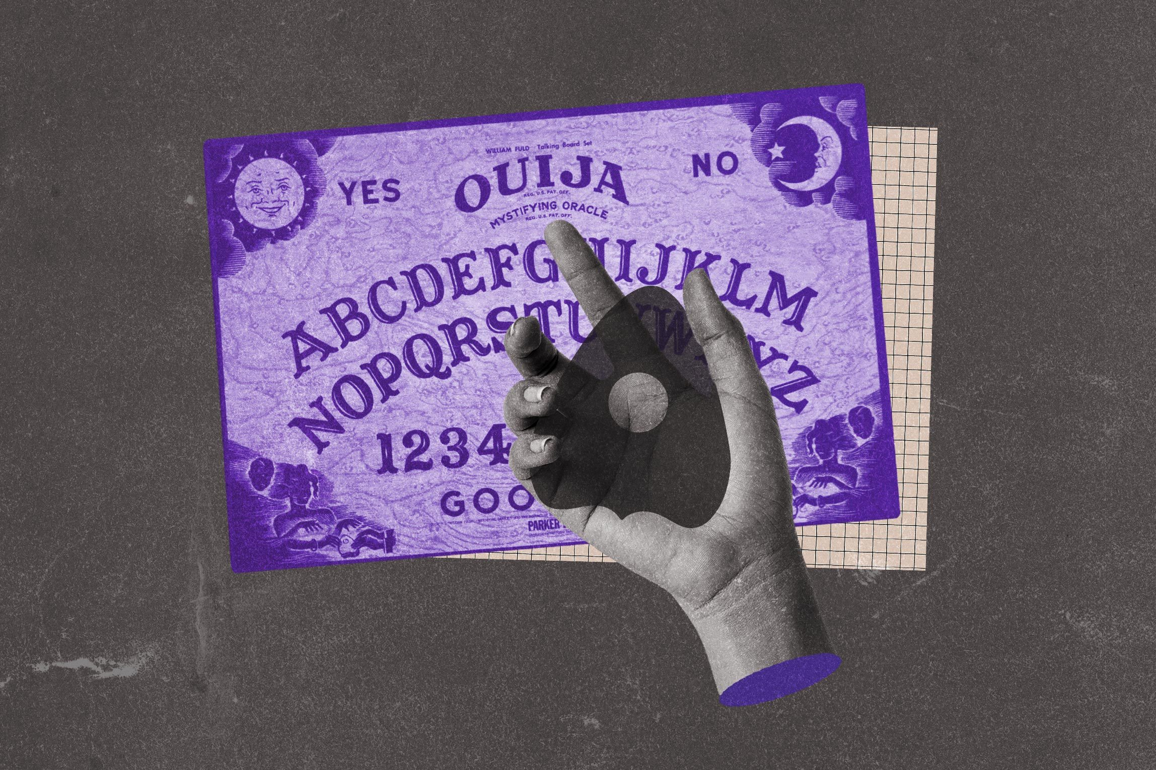 Collage of ouija board, hand, and planchette.