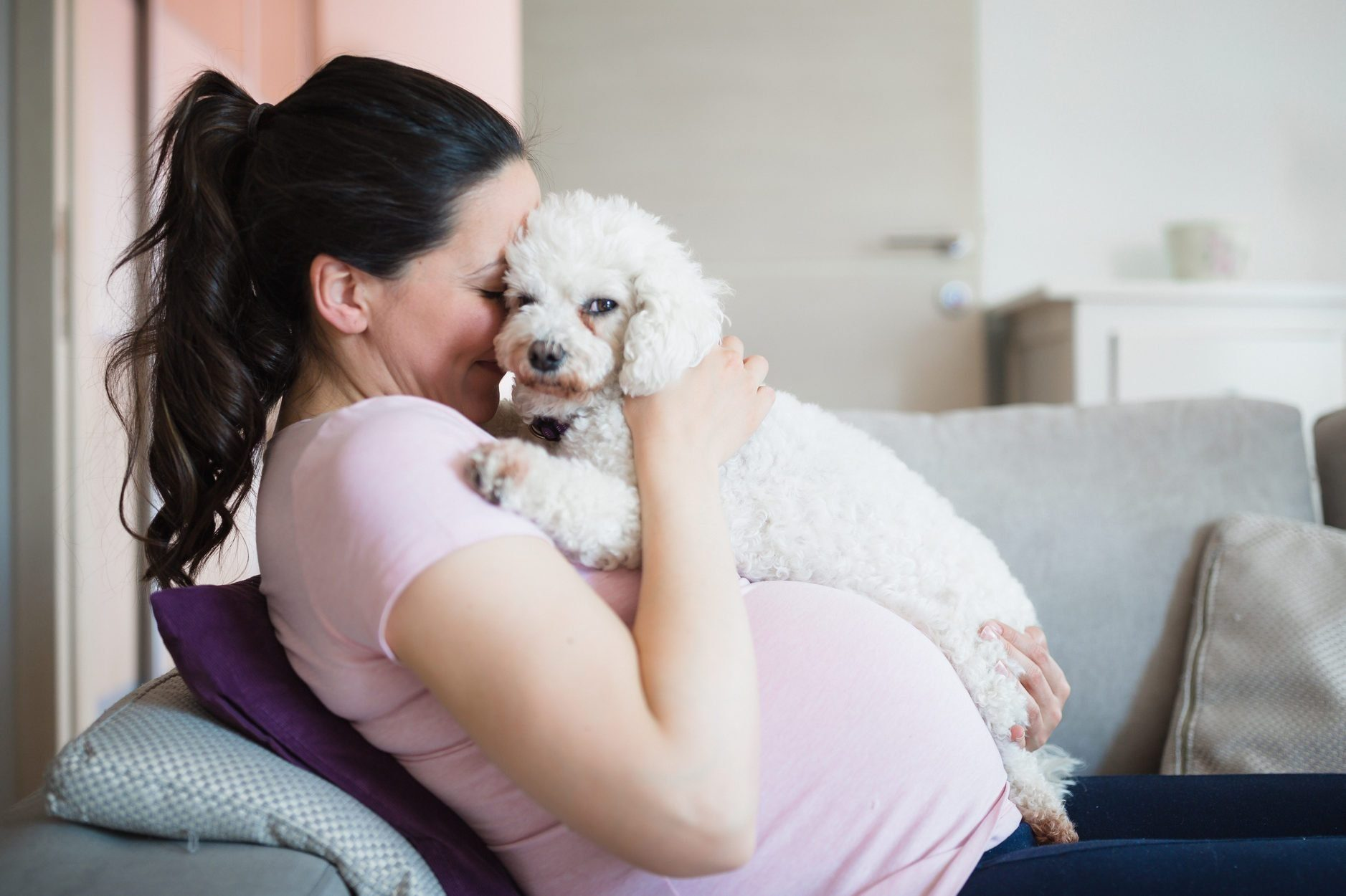 Most affectionate dog breeds - Pregnant woman having fun with her dog