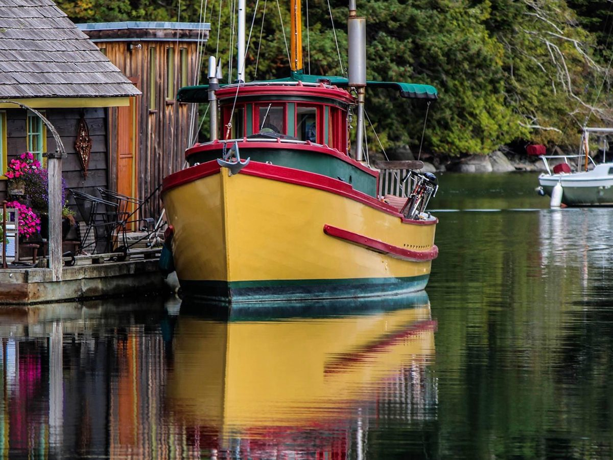 Best boat photography across Canada - Yellow boat in Genoa Bay, British Columbia