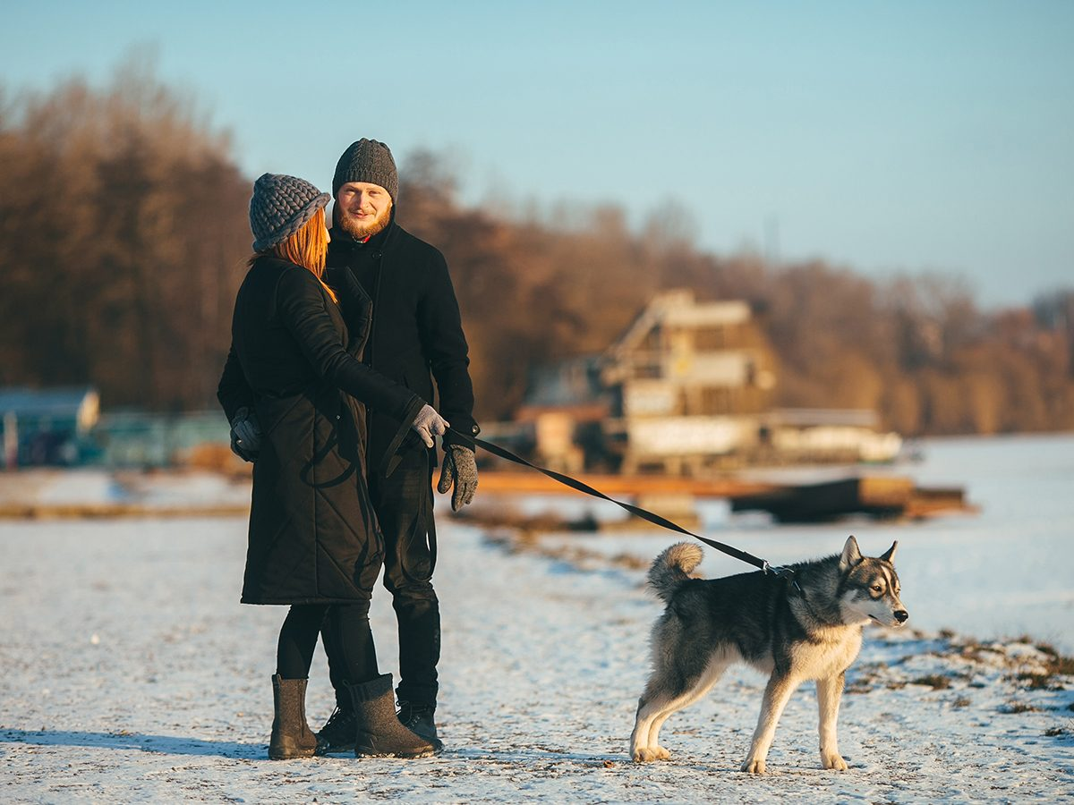 How to prep for COVID-19 this winter - couple walking dog on beach