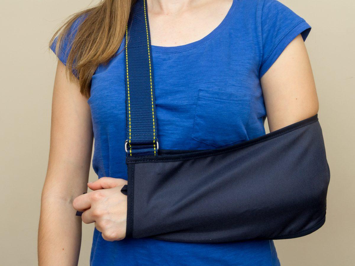 Broken arm in sling
