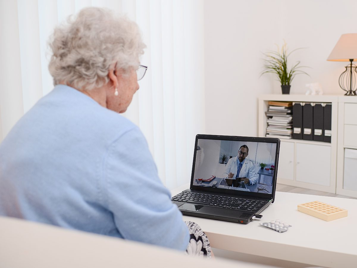 Health news - elderly woman consulting doctor on video call