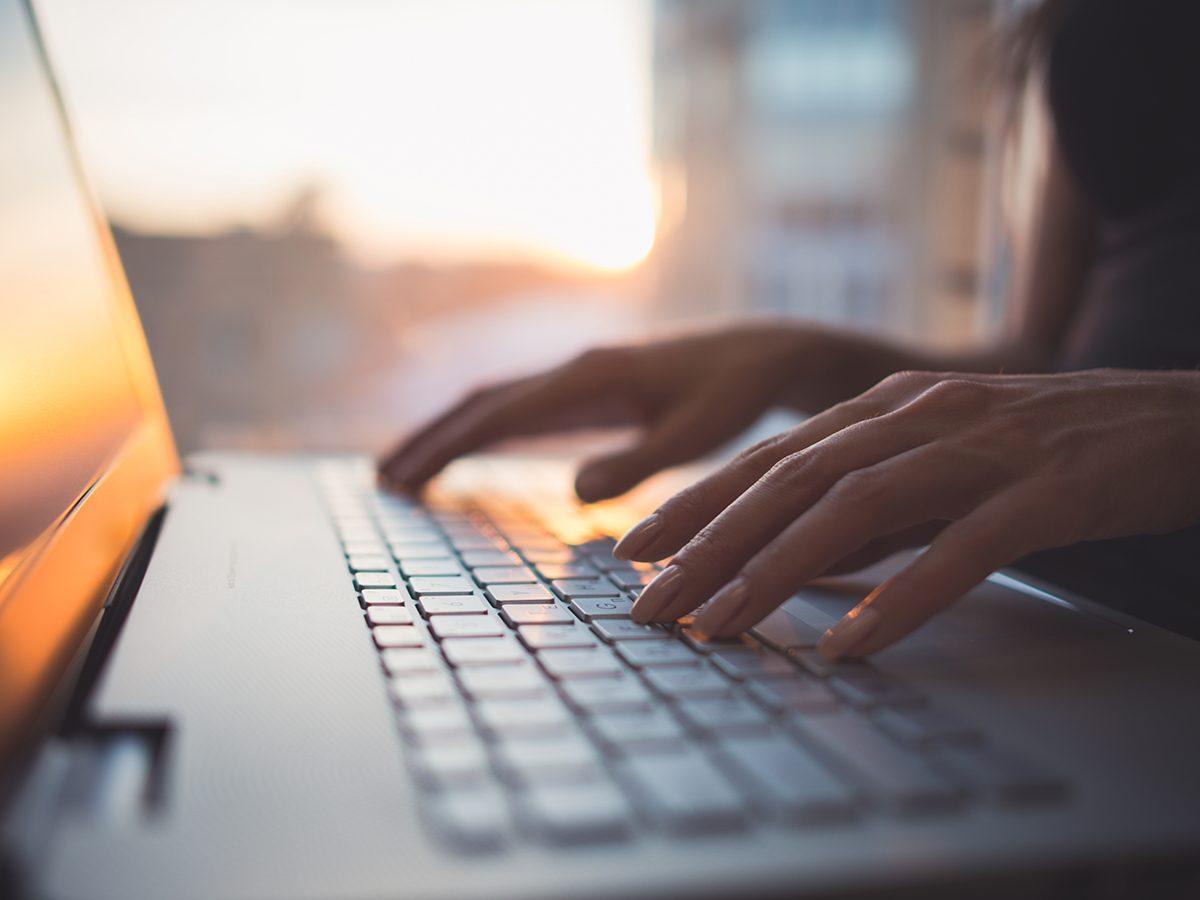 Magic Eraser uses - hands on computer keyboard