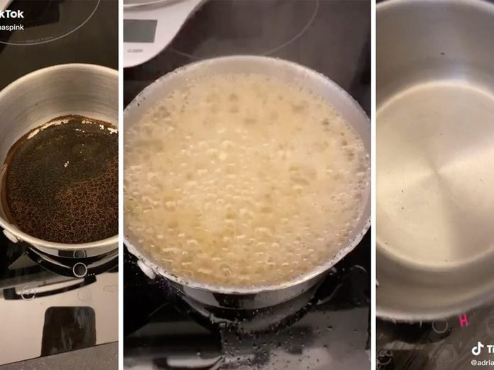 TikTok Hack showing how to clean pots and pans