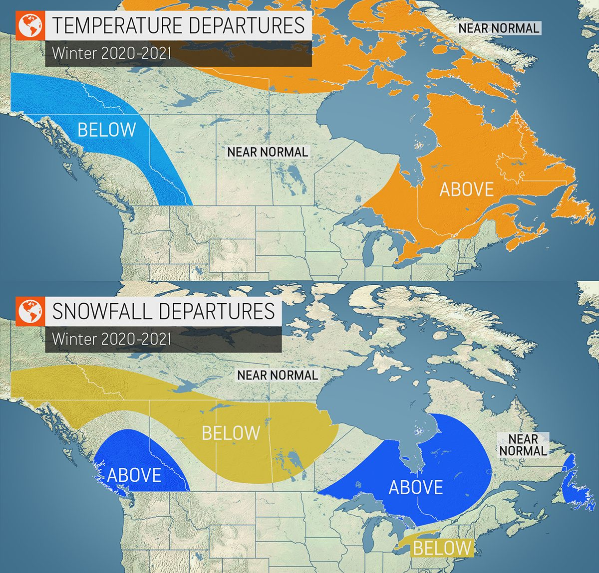 Winter forecast Canada 2020 - expected temperature and snowfall