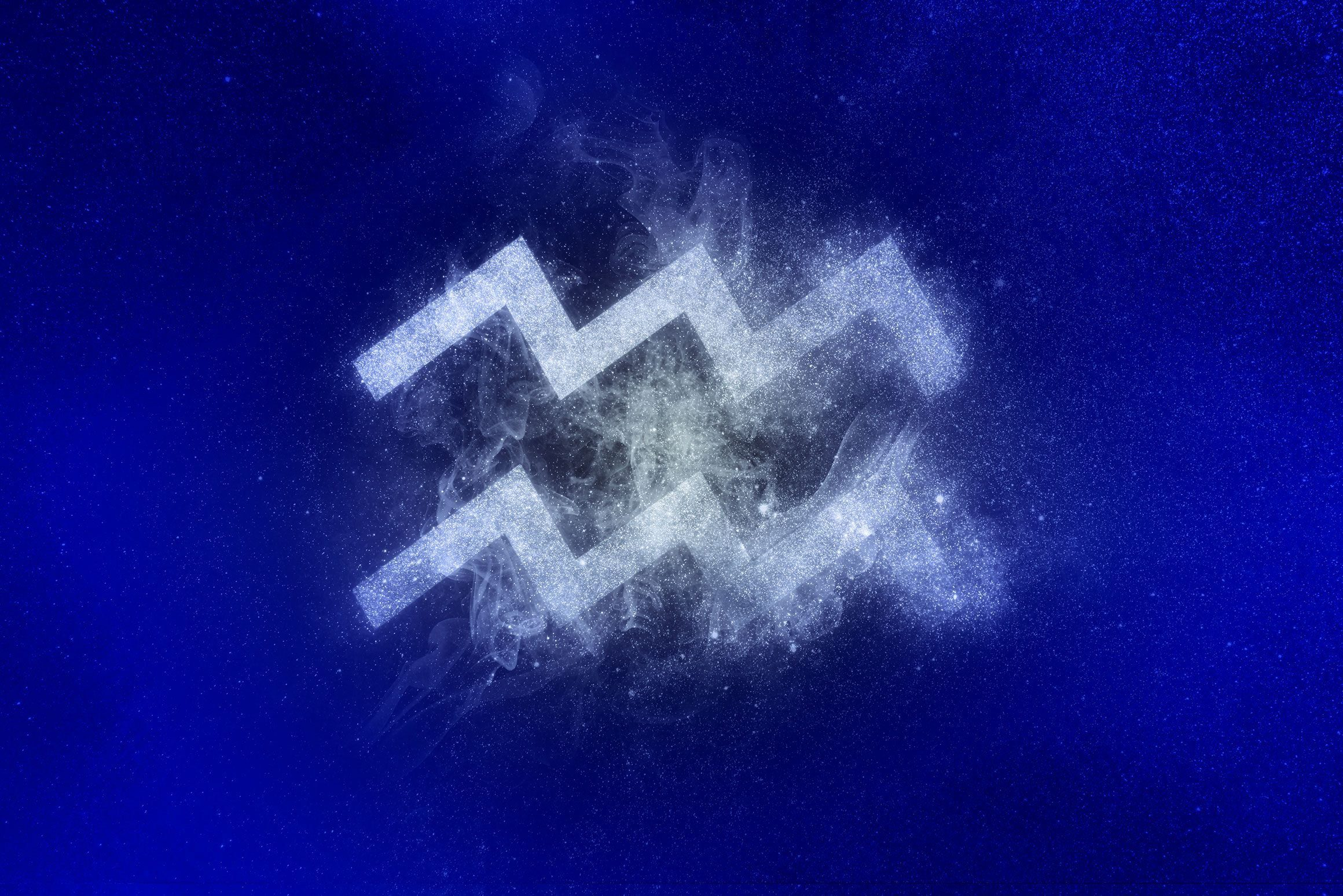 aquarius zodiac symbol in winter colors