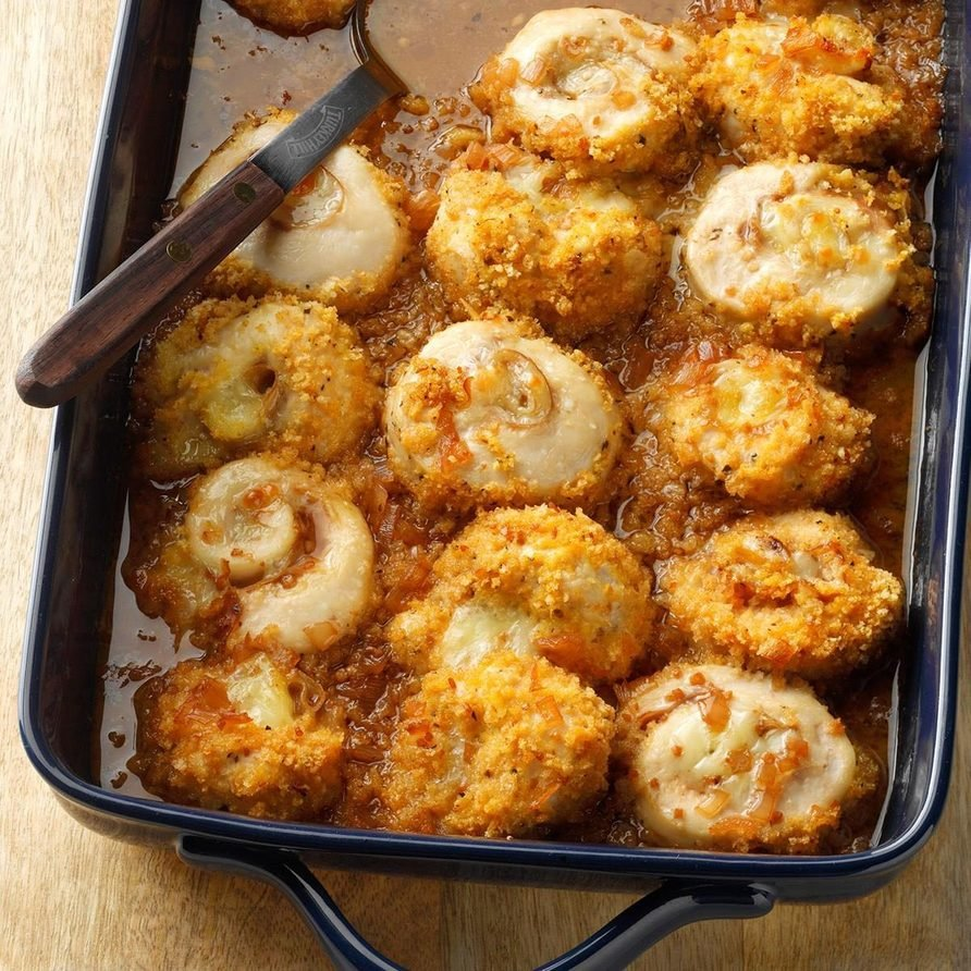 Chicken-Prosciutto Pinwheels in Wine Sauce