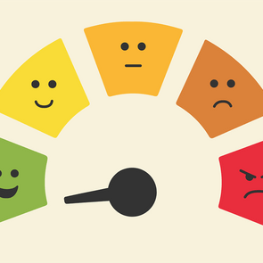Most polite and most rude zodiac signs - Wheel from happy to sad with moving lever