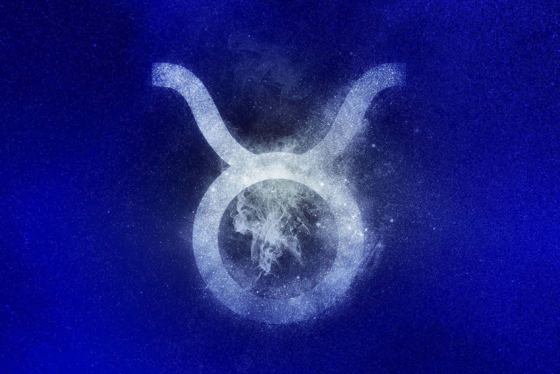 taurus zodiac symbol in winter colors