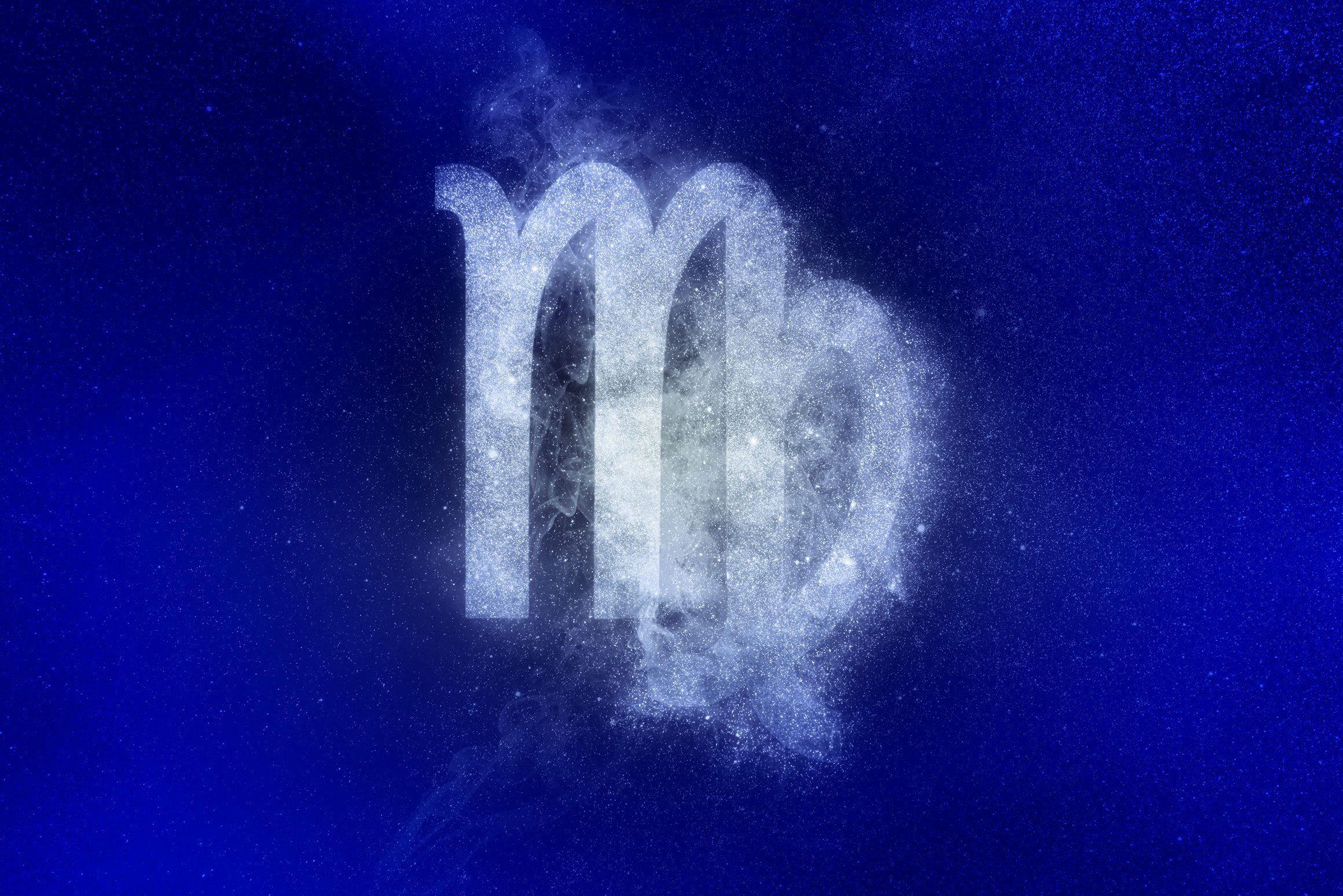 virgo zodiac symbol in winter colors