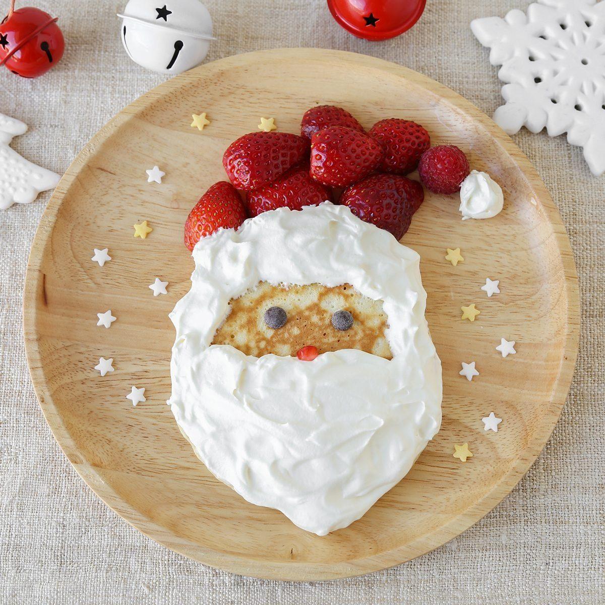 Fun homemade santa pancake breakfast for kids