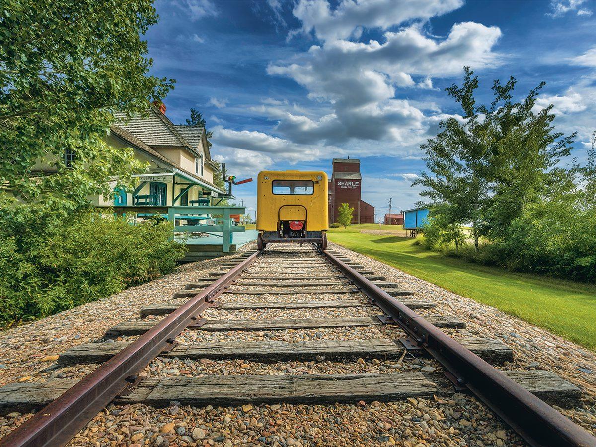 Southern Alberta - yellow railway car