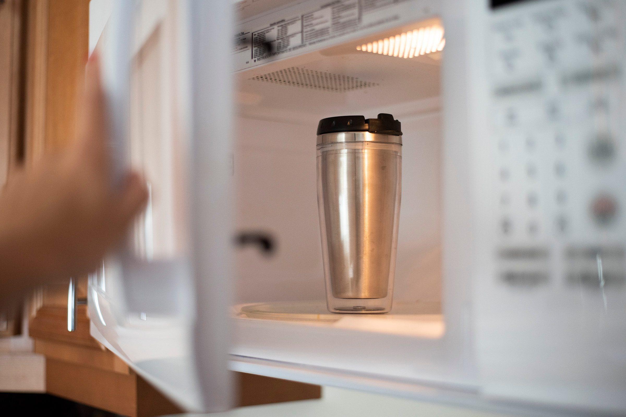 microwave stainless steel mug