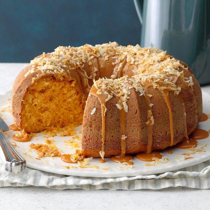 Double butterscotch coconut cake recipe