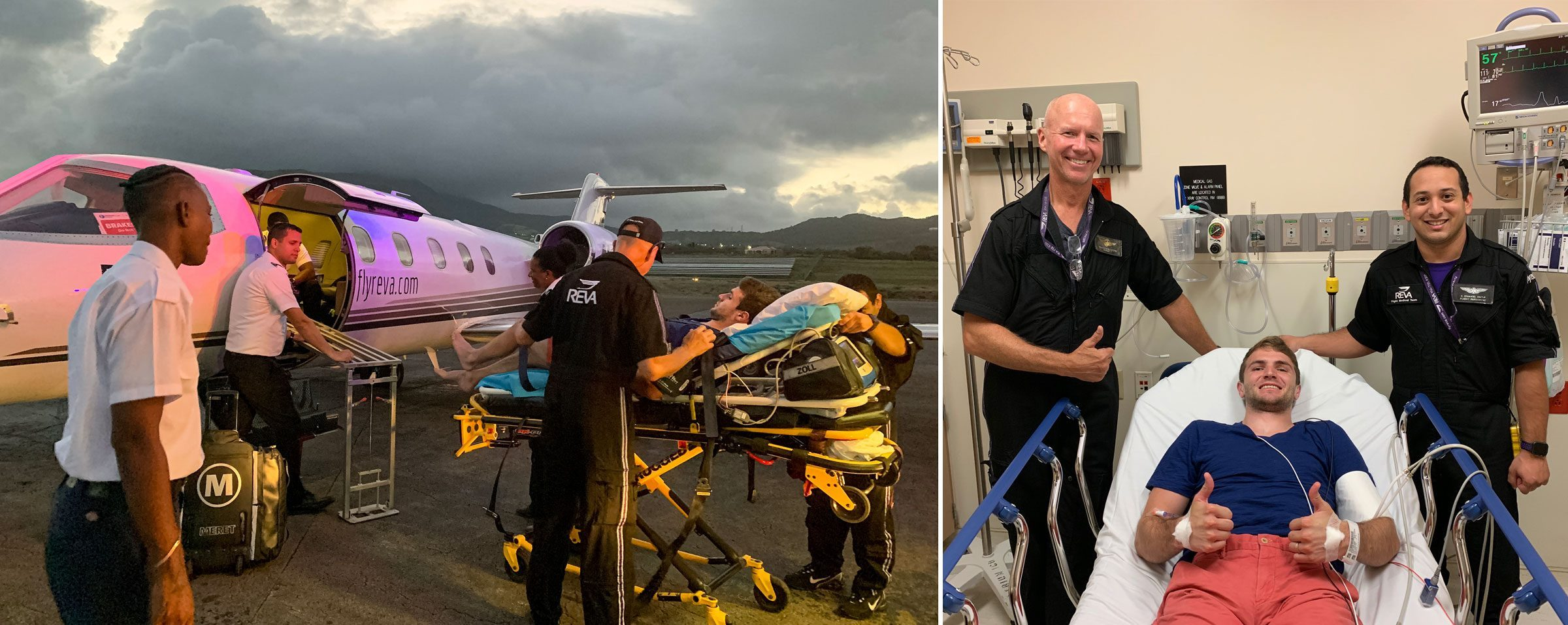 left: Clay being loaded into the medevac plane; right: Clay with the medevac EMTs in the ER in Florida
