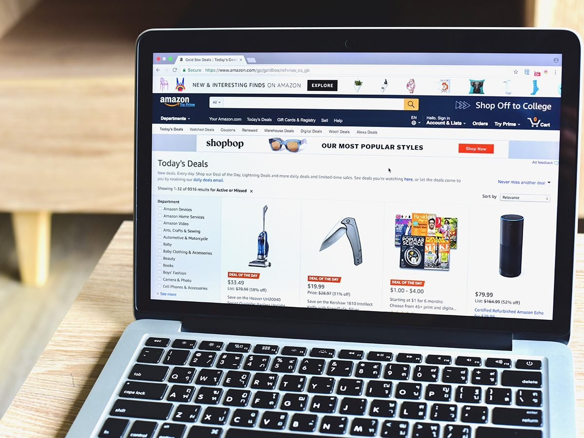 Amazon page on laptop