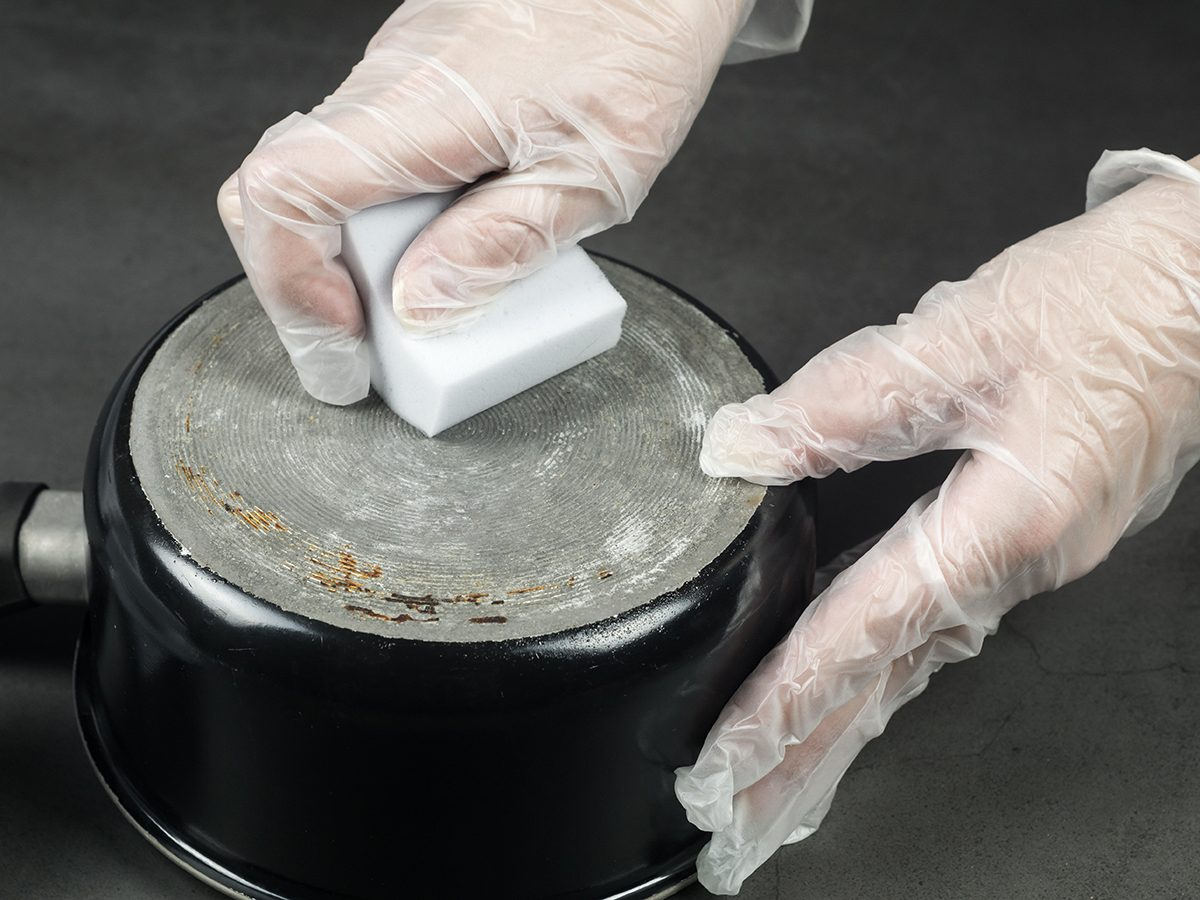 Never use a Magic Eraser to clean these things - Magic Eraser scrubbing pot