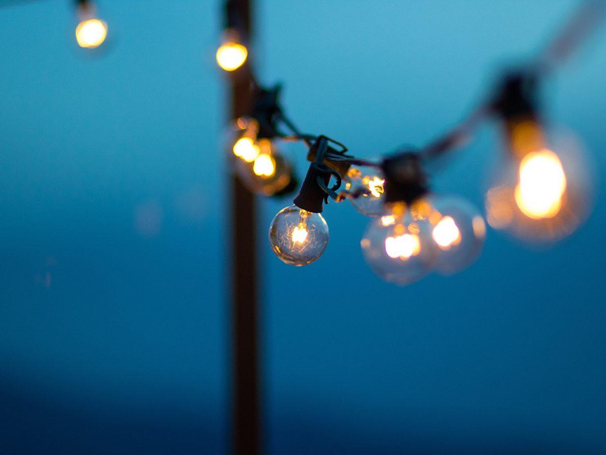 Winter grilling tips - porch string lights