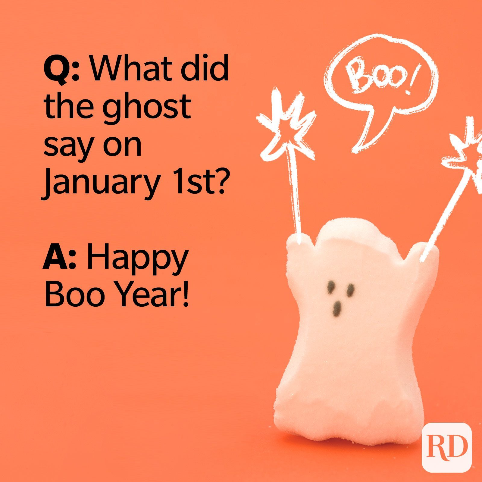 Q: What did the ghost say on January 1st? A: Happy Boo Year.