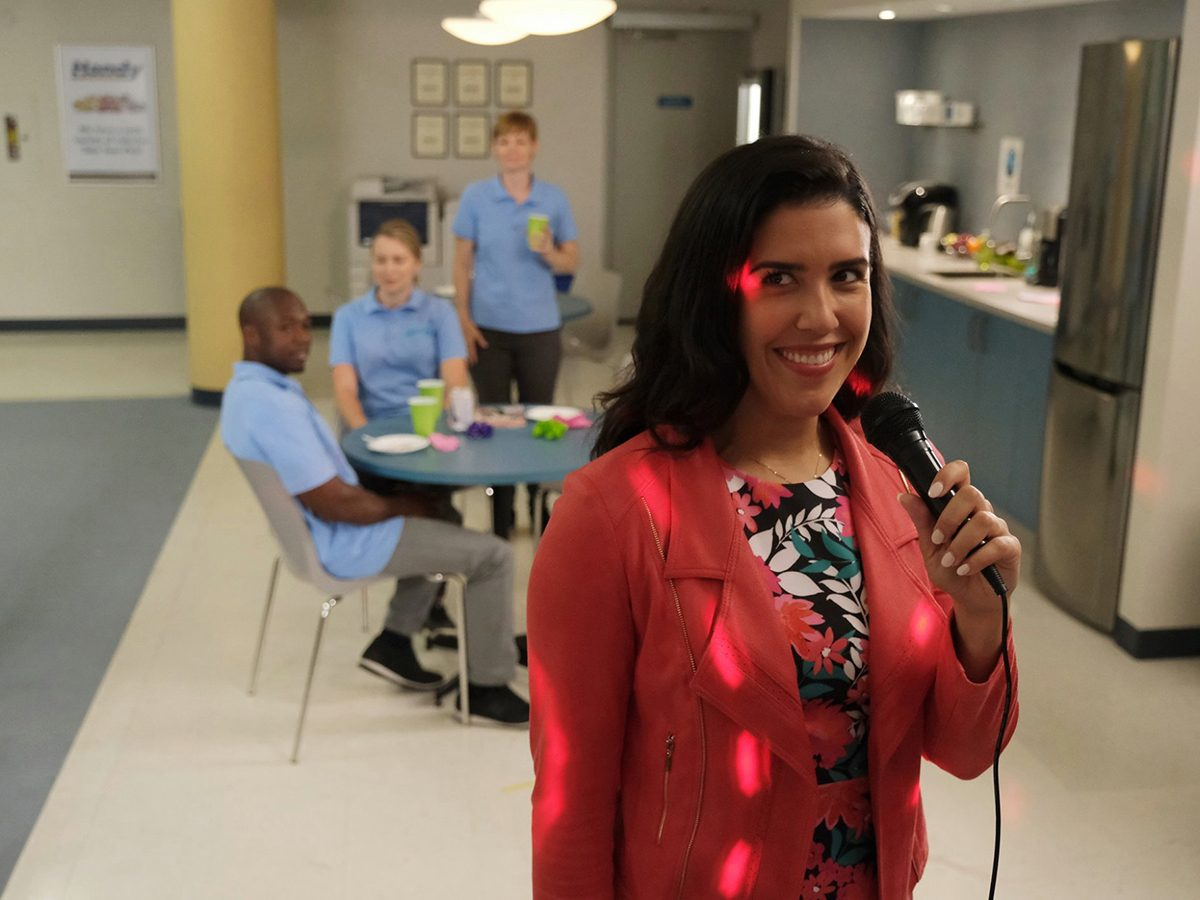 Kims Convenience Quotes - Shannon singing karaoke in the Handy office