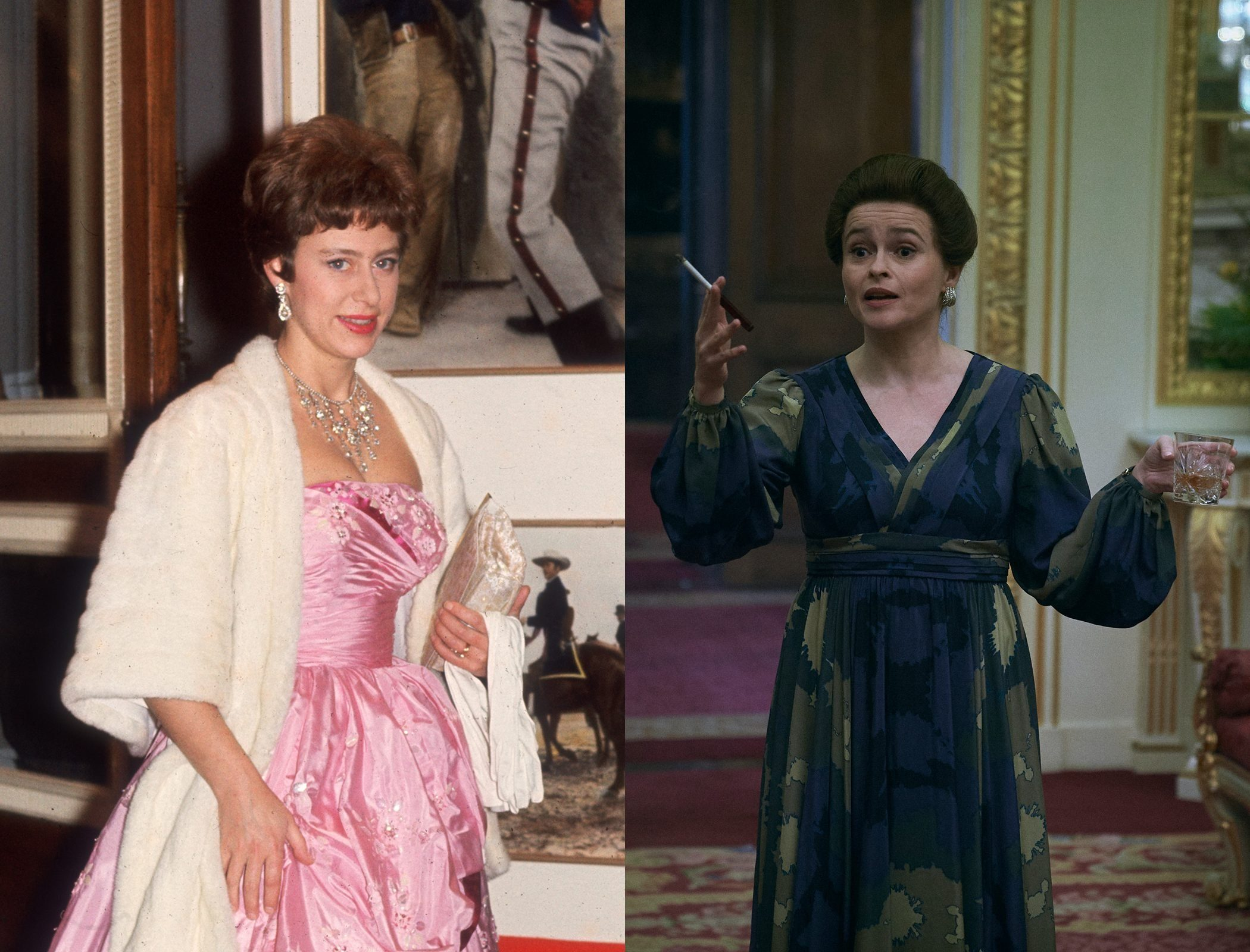 Princess Margaret in middle age, as played by Helena Bonham Carter