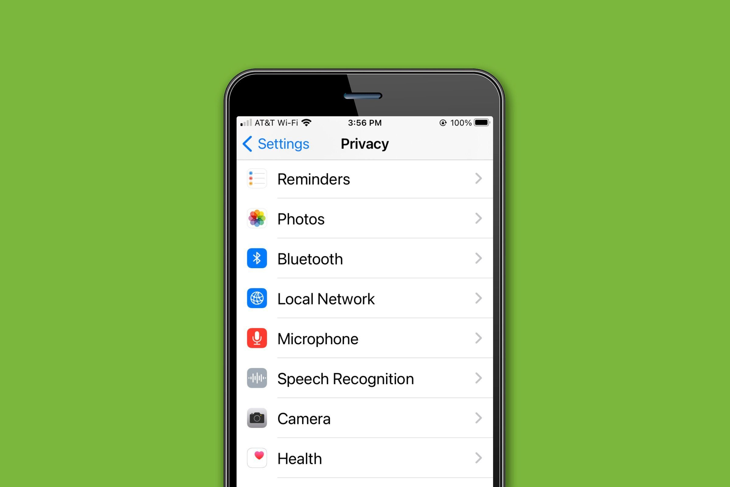 iPhone privacy settings menu