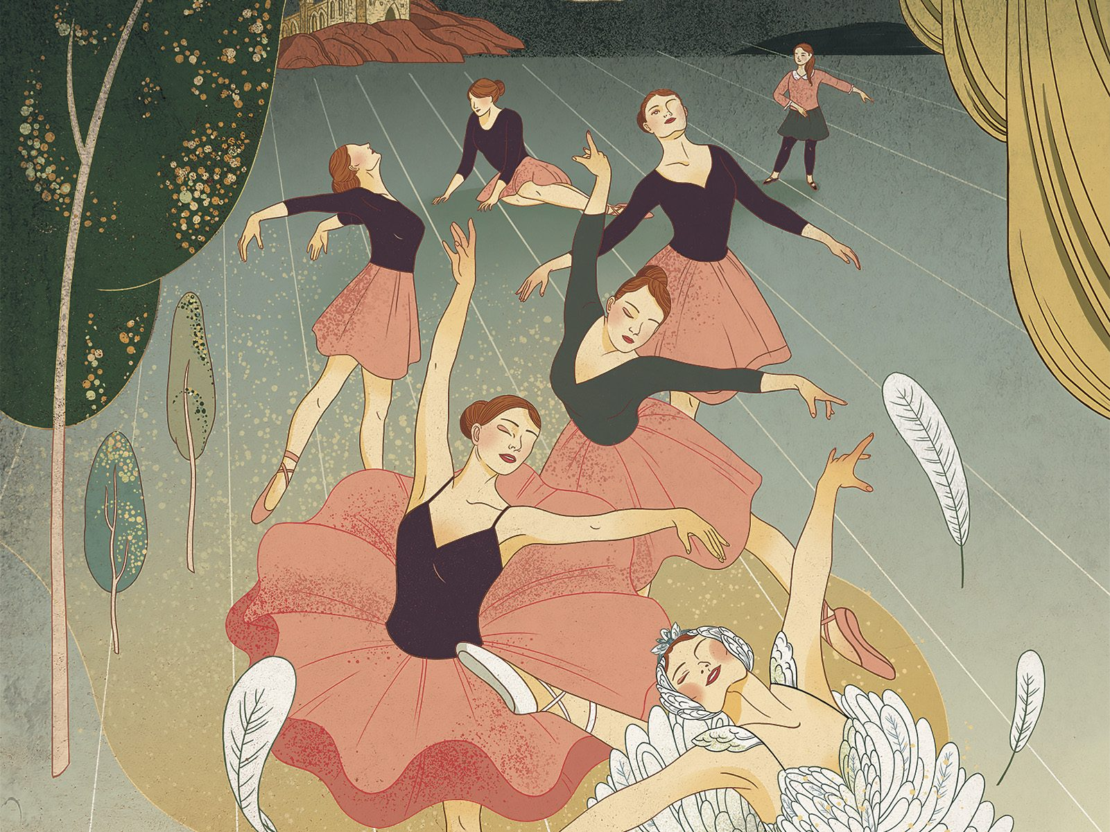 Illustration of adult ballet classes